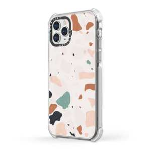 An iPhone 11 case featuring a bold, colourful terrazzo pattern printed in plastic.